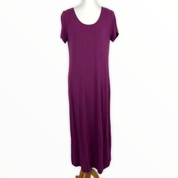 J. Jill Maxi Dress Small Purple Short Sleeve